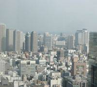 High-rise buildings dot the skyline in central Tokyo, where land prices are finally starting to increase.