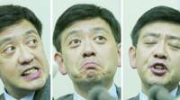 Star fund manager Yoshiaki Murakami shows a range of expressions Monday during a news conference at the Tokyo Stock Exchange in which he admitted to insider trading.