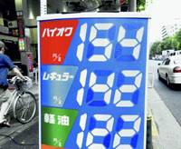 Gas prices are shown tying the previous record of 142 yen per liter of regular Wednesday on a price display at a gas station in Tokyo. | KYODO PHOTO