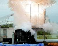 A hybrid rocket engine combustion experiment is carried out in late July at Uematsu Electric Co. in Akabira, Hokkaido.   KYODO PHOTO