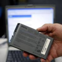 A recalled Sony Corp. battery from a Dell notebook computer is shown Aug. 15 in this Dallas suburb.   AP PHOTO