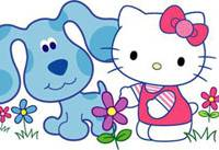 America's puzzle-solving dog, Blue, gets together with Hello Kitty, Japan's famous cat, in this image released by Sanrio Co. and Nickelodeon & Viacom Consumer Products. The two firms announced a deal in Tokyo on Wednesday that will partner the two characters.   AP PHOTO