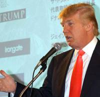 U.S. Real Eatate mogul Donald Trump speaks at a news conference Monday in Tokyo to promote the 38-story hotel and condominium complex he is building in central Waikiki, Hawaii, as part of the Waikiki Beach Walk redevelopment project. | SATOKO KAWASAKI PHOTO