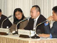 Ignatinus Low (second from right) of The Straits Times speaks Dec. 13 during a symposium at Keidanren Kaikan in Tokyo about Japan's free-trade accord with the Association of Southeast Asian Nations, while his copanelists (from left) Dadan Wijaksana, Siew Lian Lee and Nophakhun Limsamarnphun listen. | SATOKO KAWASAKI PHOTO