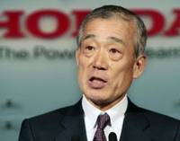 Grand plan: Honda Motor Co. President Takeo Fukui holds a news conference Wednesday in Tokyo. | AP PHOTO