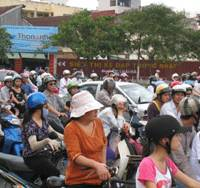 Motorcyclists add to the crush during central Hanoi's evening rush hour in September.