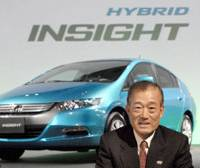 Latest and greatest: Honda Motor Co. President Takeo Fukui speaks Thursday in front of a new Insight hybrid vehicle in Minato Ward, Tokyo. | YOSHIAKI MIURA PHOTO