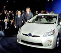 Top pick: A revamped Prius hybrid from Toyota Motor Corp. is shown at Detroit's international motor show on Jan. 13. | KYODO PHOTO