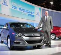 On a roll: John Mendel, chairman of American Honda Motor Co., introduces the 2010 Insight hybrid in Detroit in January. | AP PHOTO