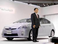 High hopes: Akio Toyoda, the incoming Toyota president, speaks about the new Prius at a news conference at the company's Mega Web showroom in Koto Ward, Tokyo, on Monday. | YOSHIAKI MIURA PHOTO