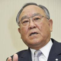 Consuming interest: Fujio Mitarai, chairman of the Japan Business Federation (Nippon Keidanren) and Canon Inc., is interviewed recently in Tokyo. | KYODO PHOTO