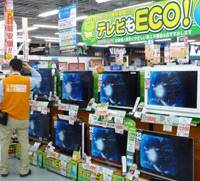 Green machines: A salesman explains low-power TVs to a customer at an electronics store in Tokyo during a sales campaign for energy-conserving products earlier this month.   KYODO PHOTO