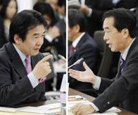Supply or demand: Keio University professor Heizo Takenaka (left) faces Deputy Prime Minister Naoto Kan during a Wednesday debate over economic growth strategies in Tokyo. | KYODO PHOTO