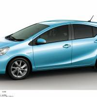 New wheels: Toyota Motor Corp.'s Aqua hybrid, which will be unveiled at the Tokyo Motor Show in December, is shown in a handout photograph.   KYODO