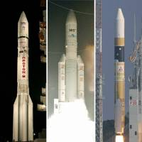 Blasting off: The H-IIA rocket (right) faces tough competition in the cut-throat business of satellite launching, including Russia's Proton (left) and Europe's Ariane. | KYODO