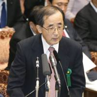 Money matters: Bank of Japan Gov. Masaaki Shirakawa addresses a Tuesday meeting of the Upper House Budget Committee.   KYODO