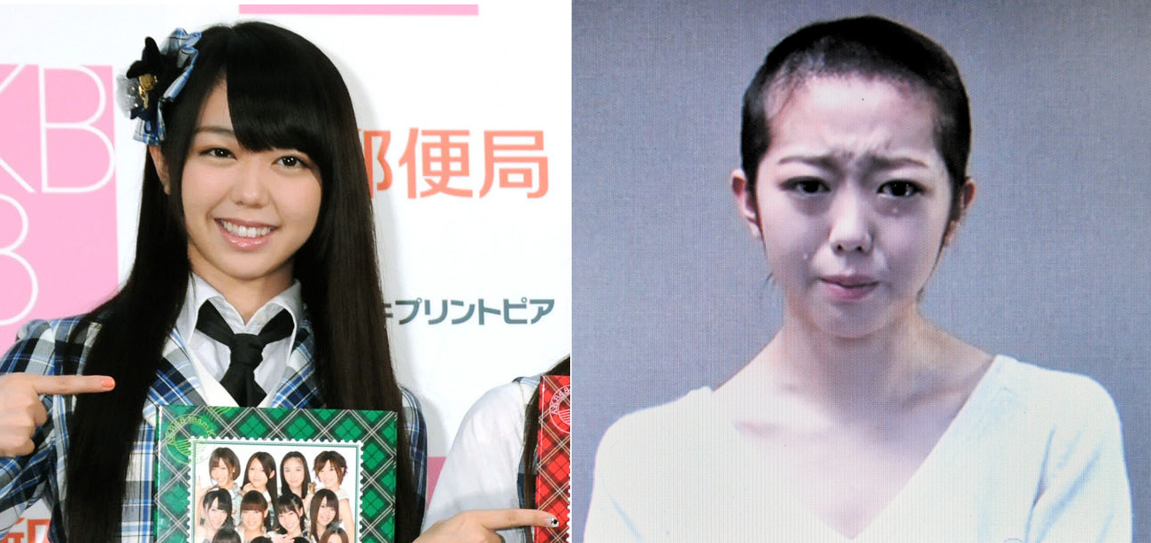 Tonsured: AKB48 idol Minami Minegishi attends a Tokyo event in November 2011 (left). In a video posted Friday on YouTube, she apologized for dating, in violation of the group's Draconian rules banning romances. | KYODO, YOSHIAKI MIURA