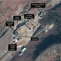 Worrisome: A satellite image taken in December by DigitalGlobe Inc. shows a rocket launch pad under construction at the Tonghae site in North Korea's northeast. | KYODO