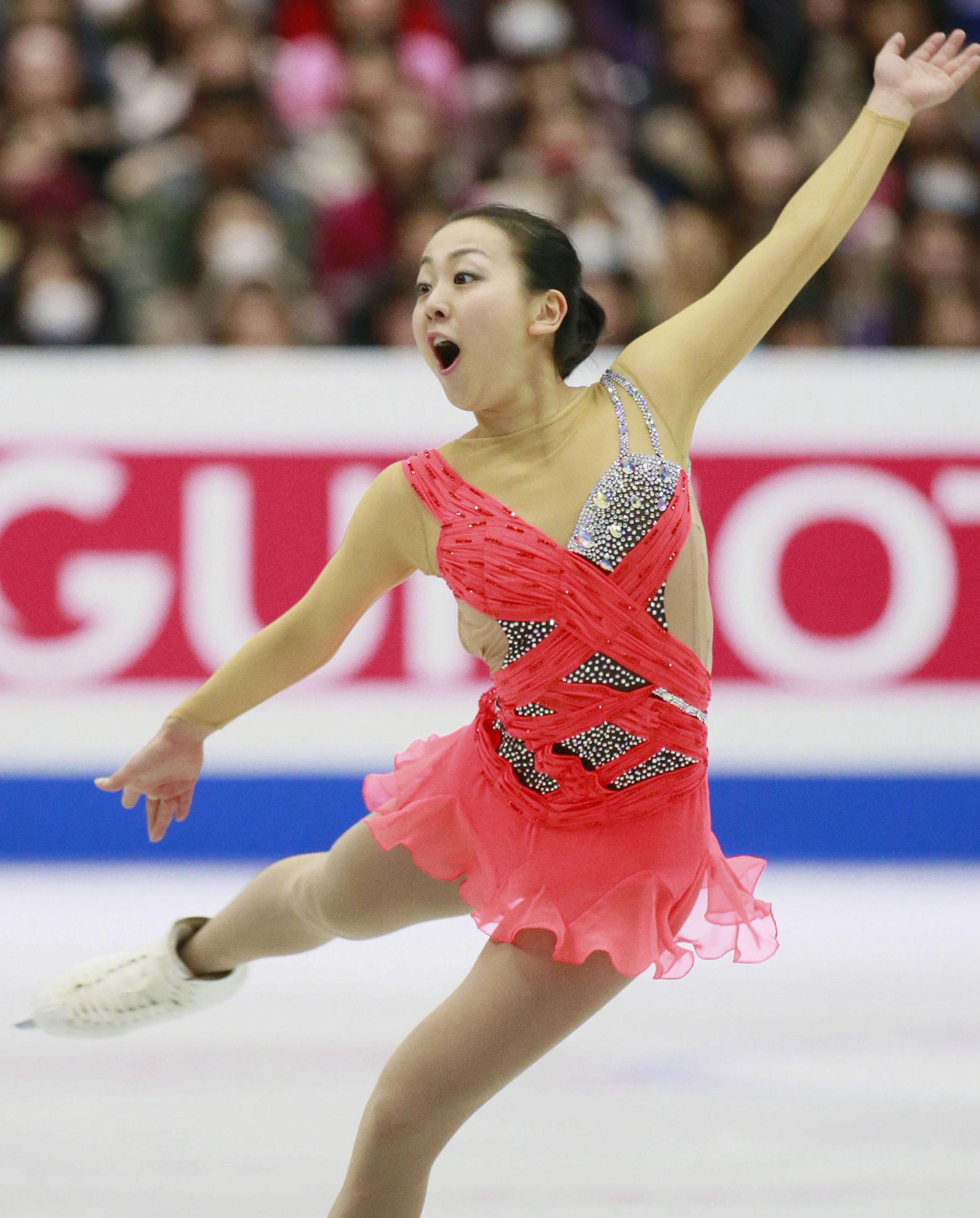 In control: Mao Asada leads the women's field after scoring 74.49 points in the short program at the Four Continents Figure Skating Championships on Saturday in Osaka. | KYODO