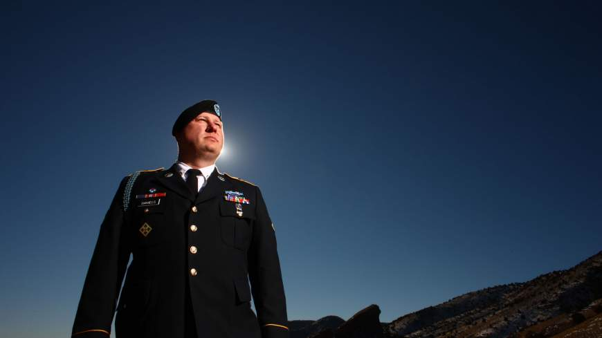Video warrior: Army Pfc. Ted Daniels poses for a photograph in Red Rocks Park outside of Morrison, Colorado, on Jan. 3. | THE WASHINGTON POST