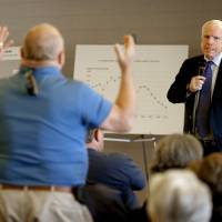 Trying times: Sen. John McCain grimaces during a town hall meeting Tuesday in Sun Lakes, Arizona. Left: McCain smiles during a presidential campaign rally in Wallingford, Pennsylvania, in November 2008. | AP