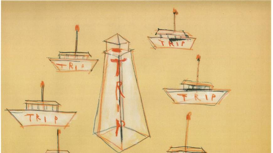 Ships that pass in the night: Katsuhiko Hibino's rough sketches of 'The Trip Project,' which involves a lighthouse that will be lit throughout the Roppongi Art Night, and temporary portable stages shaped as boats. | COURTESY OF ROPPONGI ART NIGHT