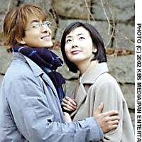 Tear-jerker - Bae Yong and Choi Ji woo in the hit Korean TV drama 'Fuyu no Sonata (Winter Sonata).' Due to popular demand, NHK is now broadcasting the series on its terrestrial channel.