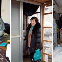 Brave faces: Sachiko Inamura (left, with her 5-year-old son), struggles to pay the mortgage on the house she abandoned inside the Fukushima evacuation zone; Namie evacuee Sumiko Toyoguchi (center) comes home to a temporary house; Tomio Kokubun (right) evacuated from Minamisoma to Aizu Wakamatsu with his family and dog, Peace.   WINIFRED BIRD