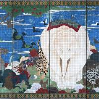 Rare menagerie: Ito Jakuchu's 'Birds, Animals, and Flowering Plants in Imaginary Scene.' Joe Price acquired the two screens in 1985 after the Tokyo National Museum laughed at the notion of exhibiting them.   COURTESY OF THE ETSUKO AND JOE PRICE COLLECTION