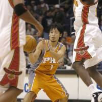 The exception that proves the rule?:  Yuta  Tabuse is the only Japanese-born basketball player to ever play in the NBA, appearing in four games with the Phoenix Suns during the 2004-05 season. If the Japanese high school training regime really worked, we would expect to see more Japanese athletes in the world's premier basketball league, argues Dan O'Keeffe. | KYODO