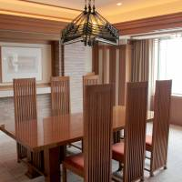 Making the cut: Robie Chairs and Allen Table by U.S. architect Frank Lloyd Wright in the dining room of the suite named after him at the Imperial Hotel in Tokyo. | KIT NAGAMURA