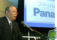 Kazuo Toda, senior managing director at Matsushita Electric Industrial Co., explains the firm's strategy for its Panasonic brand at a Tokyo showroom.