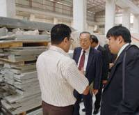 Opening avenues: Members of a Japanese business delegation view a limestone company Monday in Bethlehem in line with a government initiative to promote trade with the Palestinian territories.   KYODO PHOTO