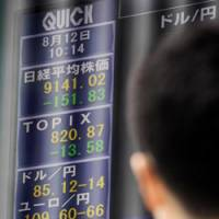Troubled times: Exchange rates and stock indexes are displayed Thursday in Tokyo. | KYODO PHOTO