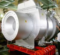 Heat exchanger: Mitsubishi Heavy Industries Ltd. shows off what it is calling the world's first hybrid supercharger that generates electricity with heat from the exhaust gas of a ship's diesel engine.   KYODO PHOTO/MHI