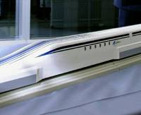 Wins by a nose: A model of a new maglev train to be operated by Central Japan Railway Co. (JR Tokai) was unveiled to the press Tuesday in Tokyo. | KYODO PHOTO