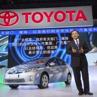 Falling short: Toyota Motor Corp. President Akio Toyoda speaks during a news conference at the Auto Shanghai 2011 car show on Tuesday. | BLOOMBERG