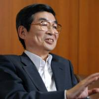 Ultimatum: Katsunori Nagayasu, chairman of the Japanese Bankers Association, speaks during an interview that was conducted in Tokyo on July 5.   BLOOMBERG PHOTO