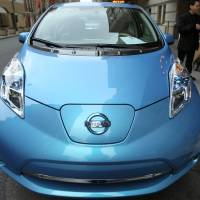 Ahead of its time?: A Nissan Leaf electric vehicle is displayed at the Bloomberg New Energy Finance Summit in New York on April 5. | BLOOMBERG