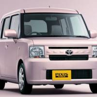 First one: The new Pixis Space, Toyota Motor Corp.'s first minivehicle, hit showrooms on Monday. | KYODO PHOTO