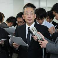 Turnaround specialist: Kazuhiko Shimokobe, operating chairman of the Nuclear Damage Liability Facilitation Fund and incoming president of Tokyo Electric Power Co., speaks to the media after a management reform committee meeting for Tepco in Tokyo on Friday. | BLOOMBERG