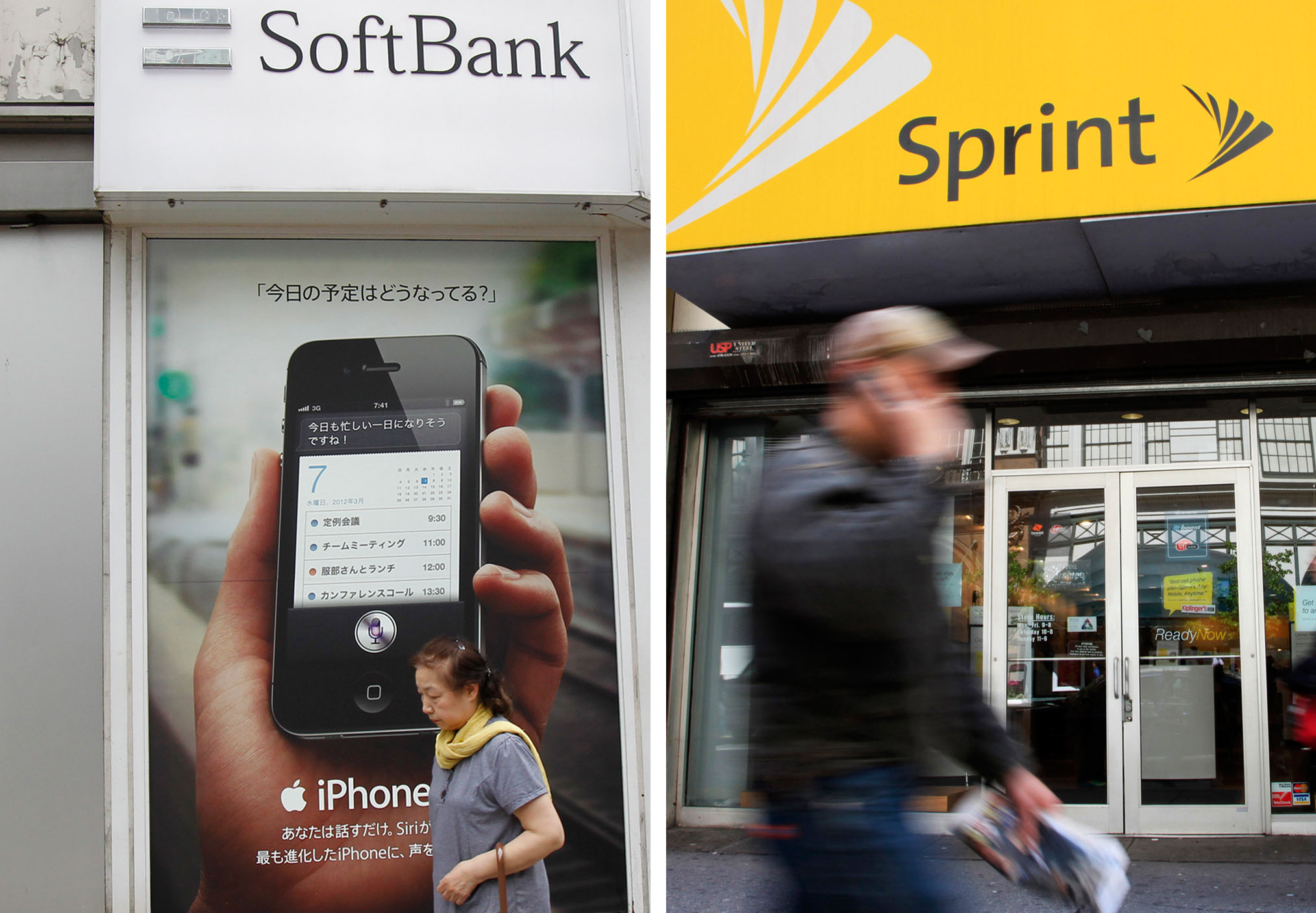 Acquisition target: A woman walks by a SoftBank shop in  Tokyo on April 26 while a man walks past a Sprint store (right) in 2010 in New  York.   AP