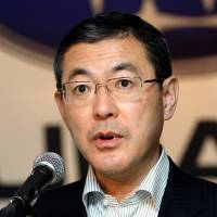 Subaru sales pitch: Yasuyuki Yoshinaga, president of Fuji Heavy Industries Ltd., holds a news conference in Tokyo in July 2011. | BLOOMBERG