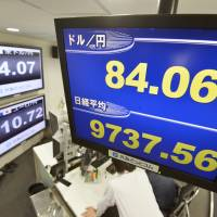 Market reaction: Monitors at foreign exchange firm Gaitame.Com Co. in Minato Ward, Tokyo, show the yen-dollar rate and the Nikkei average on Monday. Tokyo stocks rose almost across the board in the morning as the yen sank in response to the Liberal Democratic Party's victory in Sunday's general election. | KYODO