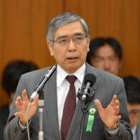 Hot seat: Bank of Japan Gov. Haruhiko Kuroda answers questions during a Lower House committee session Tuesday. | AFP-JIJI