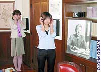 Visitors to Sugihara Chiune Memorial Hall in Yaotsu, Gifu Prefecture,  listen to a recording of the man known as 'Japan's Schindler.'