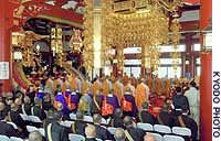 Buddhist monks atttend a ceremony at Ikegami Honmonji Temple in Tokyo to celebrate the completion of major repairs.