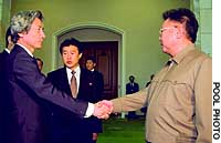 Prime Minister Junichiro Koizumi is greeted by North Korean leader Kim Jong Il at the outset of their landmark talks at the Paekhwawon state guesthouse in Pyongyang.