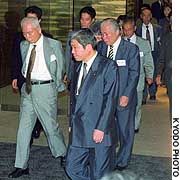 Distressed relatives of the Japanese nationals abducted by North Korea leave the Iikura Guest House after learning that the majority of them have already died.