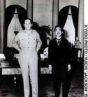 Emperor Showa meets U.S. General Douglas MacArthur, supreme commander of the Allied powers in Japan, at the U.S. Embassy on Sept. 27, 1945.